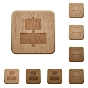 Set of carved wooden Align to center buttons in 8 variations. - Align to center wooden buttons