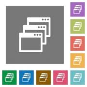 Cascade window view mode flat icon set on color square background. - Cascade window view mode square flat icons
