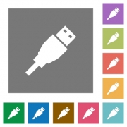 USB plug flat icon set on color square background. - USB plug square flat icons