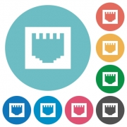 Flat ethernet connector icon set on round color background. - Flat ethernet connector icons