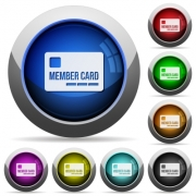 Set of round glossy member card buttons. Arranged layer structure. - Member card button set