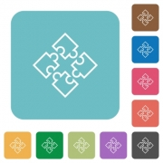 Flat puzzles icons on rounded square color backgrounds. - Flat puzzles icons