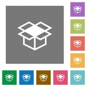 Open box flat icon set on color square background. - Open box square flat icons