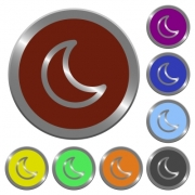 Set of color glossy coin-like moon shape buttons - Color moon shape buttons