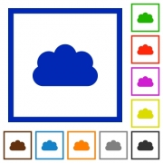 Set of color square framed cloud flat icons - Cloud framed flat icons