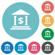 Flat Dollar bank icon set on round color background. - Flat Dollar bank icons