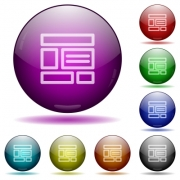 Set of color web layout glass sphere buttons with shadows. - Web layout glass sphere buttons