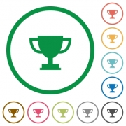 Set of trophy cup color round outlined flat icons on white background