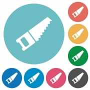 Flat hand saw icon set on round color background. - Flat hand saw icons