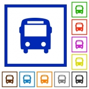 Set of color square framed bus flat icons