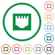 Set of ethernet connector color round outlined flat icons on white background - Ethernet connector outlined flat icons
