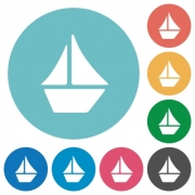 Flat sailboat icon set on round color background. - Flat sailboat icons