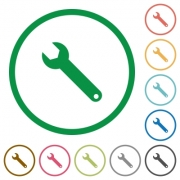 Set of wrench color round outlined flat icons on white background - Wrench outlined flat icons