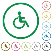 Set of disability color round outlined flat icons on white background - Disability outlined flat icons