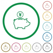 Set of Yen piggy bank color round outlined flat icons on white background - Yen piggy bank outlined flat icons