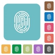 Flat fingerprint icons on rounded square color backgrounds. - Flat fingerprint icons