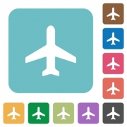 Flat airplane icons on rounded square color backgrounds. - Flat airplane icons