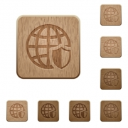 Set of carved wooden internet security buttons in 8 variations. - Internet security wooden buttons