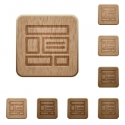 Set of carved wooden web layout buttons in 8 variations. - Web layout wooden buttons