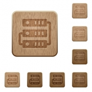 Set of carved wooden servers buttons in 8 variations. - Servers wooden buttons