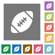 Rugby ball flat icon set on color square background. - Rugby ball square flat icons