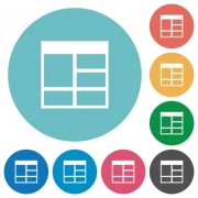Flat Spreadsheet vertically merge table cells icon set on round color background.