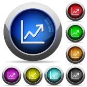 Set of round glossy line graph buttons. Arranged layer structure. - Line graph button set