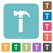Flat hammer icons on rounded square color backgrounds. - Flat hammer icons