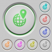 Set of color GPS location sunk push buttons. - GPS location push buttons