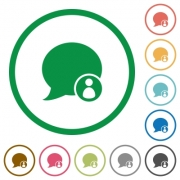 Set of blog comment owner color round outlined flat icons on white background - Blog comment owner outlined flat icons