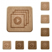 Set of carved wooden play files buttons in 8 variations. - Play files wooden buttons