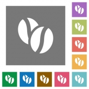 Coffee beans flat icon set on color square background. - Coffee beans square flat icons