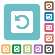 Flat rotate left icons on rounded square color backgrounds. - Flat rotate left icons