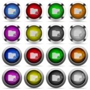 Set of copy folder glossy web buttons. Arranged layer structure. - Copy folder glossy button set