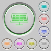 Set of color solar panel sunk push buttons. - Solar panel push buttons