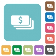 Flat Dollar banknotes icons on rounded square color backgrounds. - Flat Dollar banknotes icons