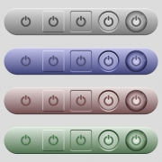 Power switch icons on rounded horizontal menu bars in different colors and button styles - Power switch icons on menu bars