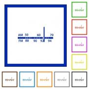 Set of color square framed radio tuner flat icons - Radio tuner framed flat icons