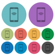 Color cellphone wireless network flat icon set on round background. - Color cellphone wireless network flat icons
