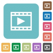 Flat play movie icons on rounded square color backgrounds. - Flat play movie icons