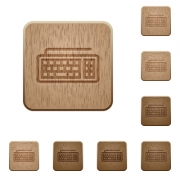 Set of carved wooden computer keyboard buttons in 8 variations. - Computer keyboard wooden buttons