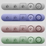 Unpack icons on rounded horizontal menu bars in different colors and button styles - Unpack icons on menu bars