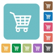 Flat shopping cart icons on rounded square color backgrounds. - Flat shopping cart icons