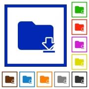 Set of color square framed download folder flat icons - Download folder framed flat icons
