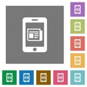 mobile newsfeed flat icon set on color square background. - mobile newsfeed square flat icons