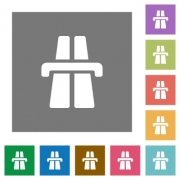 Highway flat icon set on color square background. - Highway square flat icons