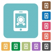 Flat smartphone certification icons on rounded square color backgrounds. - Flat smartphone certification icons