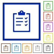 Set of color square framed task list flat icons - Task list framed flat icons