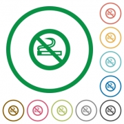 Set of no smoking sign color round outlined flat icons on white background - No smoking sign outlined flat icons