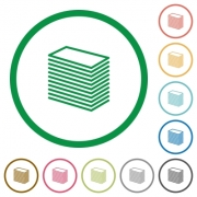 Set of paper stack color round outlined flat icons on white background - Paper stack outlined flat icons